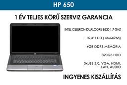 HP 650 használt notebook | Intel Celeron DualCore B820 | 4GB RAM | 320GB HDD | WiFi