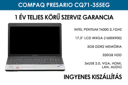 Compaq Presario CQ71-355EG használt laptop | Intel Pentium T4300 2,1GHz | 3GB RAM | 320GB HDD | WIFI
