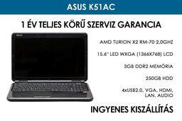 Asus K51AC használt laptop | AMD Turion X2 RM-70 2,0GHz | 3GB RAM | 250GB HDD | WiFi | Webkamera