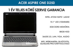 Acer Aspire One D250 használt netbook | Intel Atom N270 1,6GHz | 2GB RAM | 80GB HDD | WiFi | Bluetooth | Webkamera