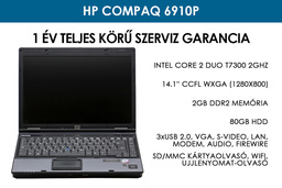 HP Compaq 6910p használt laptop | Intel Core 2 Duo T7300 | 2GB RAM | 80GB HDD | WiFi
