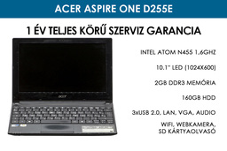 Acer Aspire One D255E használt netbook | Intel Atom N455 1 | 2GB RAM | 160GB HDD | WiFi