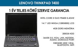 Lenovo ThinkPad T400 használt notebook | Intel Core 2 Duo P8600 2,4GHz | 3GB RAM | 200GB HDD | WiFi | Bluetooth