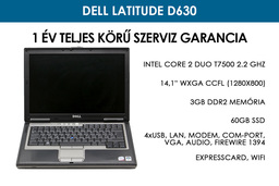 Dell Latitude D630 használt laptop | Intel Core 2 Duo T7500 2.2 GHz | 3GB RAM | 60GB SSD | WiFi