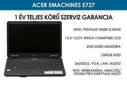 Acer eMachines E727 használt laptop | Intel Pentium T4500 2,3GHz | 2GB RAM | 250GB HDD | WiFi | Webkamera