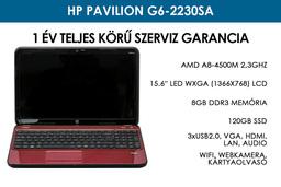 HP Pavilion g6-2230sa használt laptop | AMD A8-4500M 2,3GHz | 8GB RAM | 120GB SSD | WiFi | Webkamera | Jó Akku