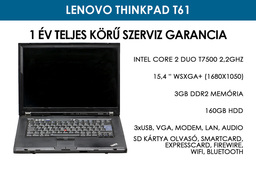 Lenovo ThinkPad T61 használt laptop | Intel Core 2 Duo T7500 2.2GHz | 3GB DDR2 RAM | 160GB HDD | Wi-Fi
