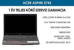 Acer Aspire 5742 használt laptop   Intel Core i3-370M 2,4 Ghz   4GB RAM   500GB HDD   WIFI