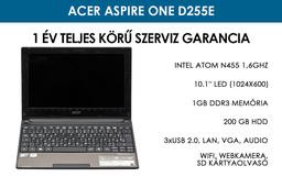 Acer Aspire One D255E használt netbook   Intel Atom N455   1GB RAM   200 GB HDD   WiFi