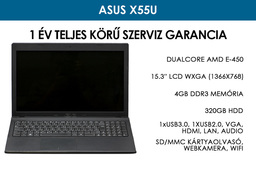 Asus X55U használt notebook   DualCore AMD E-450   4GB RAM   320GB HDD   WiFi