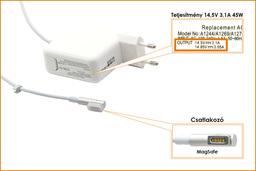 Apple 14.5V 3.1A 45W MagSafe helyettesítő új laptop töltő (A1244)