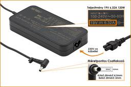 Asus 19V 6.32A 120W center pin (4.5mm/3mm) gyári új laptop töltő (ADP-120RH, 0A001-00061800)