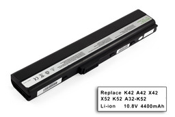 Asus K52 K52JE laptop akkumulátor, új, gyárival megegyező minőségű helyettesítő, 6 cellás (4400mAh)