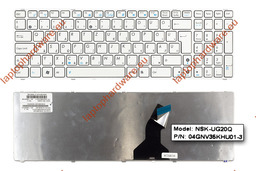 Asus K53E, K53SC, K53SD használt magyar fehér laptop billentyűzet (04GNV35KHU01-3)