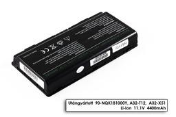 Asus X51 sorozat X51L laptop akkumulátor, új, gyárival megegyező minőségű helyettesítő, 6 cellás (4400mAh)