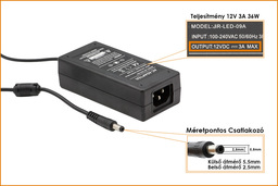 ChiliGreen NEO 12V 3A 36W 5.5mm/2.5mm helyettesítő új netbook töltő