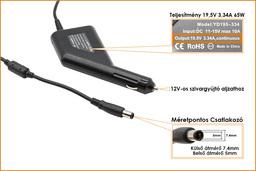 Dell Latitude E6400 19,5V-os 65W-os szivargyújtós laptop autós töltő