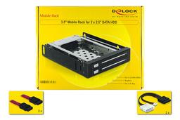 Delock 3.5 hdd mobil rack, 2x 2,5 inch SATA-USB belső winchester keret
