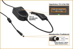 HP 19V 4.74A 90W (center pin) helyettesítő új autós laptop töltő (ED495AA,384020-001)