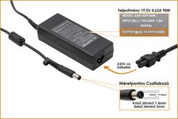 HP Compaq 19.5V 4.62A 90W center-pin, középső tüskés helyettesítő laptop töltő (677777-001, 693712-001)