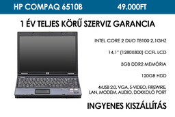 HP Compaq 6510b használt laptop | Intel Core 2 Duo T8100 2,1GHz | 3GB RAM | 120GB HDD | WiFi | Bluetooth