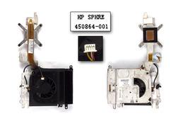 HP Pavilion dv9000 használt komplett laptop hűtő ventilátor egység (discrete alaplaphoz) (SPS 450864-001)