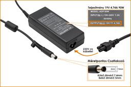 HP PPP012L-S 19V 4.74A 90W (center pin) helyettesítő új laptop töltő (ED495AA, 384020-001)