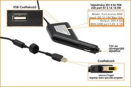 IBM Lenovo IdeaPad 20V 4.5A 90W helyettesítő új autós laptop és telefon (USB)  töltő sárga téglalap alakú csatlakozóval