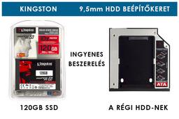 Kingston 120GB SSD meghajtó (SV300S37A) + 9,5mm-es a DVD meghajtó helyére beépíthető winchester beépítő keret | 3 év garancia! | Ingyenes beszereléssel!