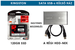 Kingston 120GB SSD meghajtó (SV300S37A/120GB) + SATA winchester USB-s külső ház | 3 év garancia! | Ingyenes beszereléssel!