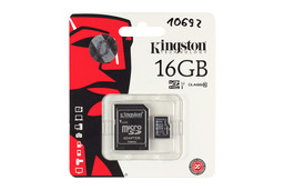 Kingston 16GB Class 10 MicroSD kártya + adapter (SDC10/16GB, SDC10G2/16GB)