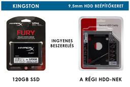 Kingston HyperX Fury 120GB SSD meghajtó (SHFS37A/120G)  + 9,5mm-es a DVD meghajtó helyére beépíthető winchester beépítő keret | 3 év garancia! | Ingyenes beszereléssel!