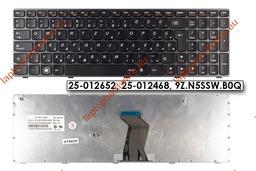 Lenovo Ideapad B570, V570, Z570, Y570 használt magyar fekete keretes laptop billentyűzet, 25-012652, 25-012468