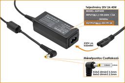 Lenovo IdeaPad, Fujitsu Amilo Mini 20V 2A 40W helyettesítő új netbook töltő (41R4441, 45K2200)