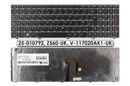 Lenovo Ideapad G570, G575, Z560 gyári új ezüst keretes UK angol laptop billentyűzet, 25-010792