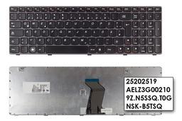 Lenovo Ideapad V580, Z580 lila-fekete német laptop billentyűzet, 25202519