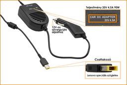 Lenovo IdeaPad G500 15-24V-os 65W-os szivargyújtós laptop autós töltő