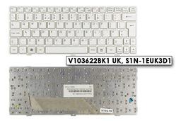 MSI Wind U135, U160 használt angol fehér laptop billentyűzet, V103622BK1 UK