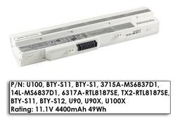 MSI Wind U90, U100, U130 használt 85%-os 6 cellás fehér laptop akku/akkumulátor (BTY-S12)