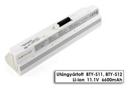 MSI Wind U90, U100, U130 helyettesítő új 9 cellás fehér laptop akku/akkumulátor (BTY-S12)