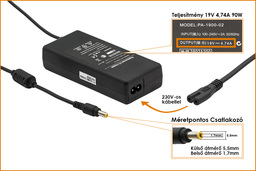 Packard Bell 19V 4.74A 90W helyettesítő új laptop töltő (LC.ADT01.006, PA-1700-02)