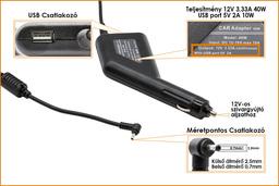 Samsung 12V 3.33A 40W helyettesítő új autós tablet töltő (2.5x0.7mm és USB (5V 2A) csatlakozóval)