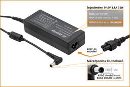 Sony 19.5V 3.9A 75W helyettesítő új laptop töltő (VGP-AC19V37)