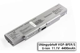 Sony Vaio VGN-AR, VGN-CR, VGN-NR, VGN-SZ helyettesítő új 6 cellás ezüst laptop akku/akkumulátor (VGP-BPS9,  VGP-BPS9/S)
