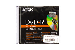 TDK DVD-R lemez 4.7GB 16x slim tok (TDK DVD-R47SCED-L)