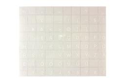 Átlátszó alapon fehér magyar betűkkel, laptop billentyűzet matrica