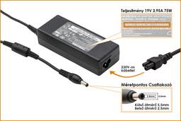 Toshiba PA3468E-1AC3 19V 3.95A 75W gyári új laptop töltő (PA3468E-1AC3)