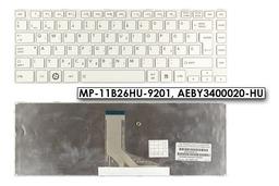 Toshiba Satellite L800, L830, L840, L845 gyári új magyar fehér laptop billentyűzet, MP-11B26HU-9201