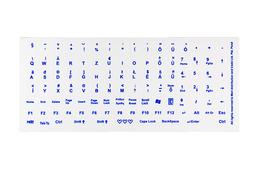 Világító billentyűzet matrica fehér alapon kék betű