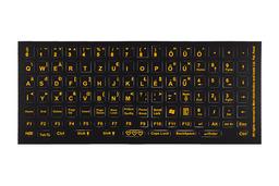 Világító billentyűzet matrica fekete alapon narancs betű